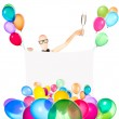 Businessman with banner, balloons and champagne — Stock Photo