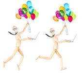 Empresario sostiene volar globos y portátil — Foto de Stock