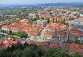 Ljubljana historic center from castle, Slovenia — Stock Photo