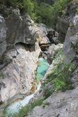 Deep narrow riverbed of Soca, Slovenia — Stock Photo