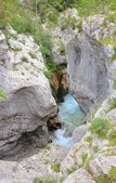 Soca river narrow riverbed, Slovenia — Stock Photo