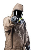 Man in Hazard Suit Pointing — Stock Photo