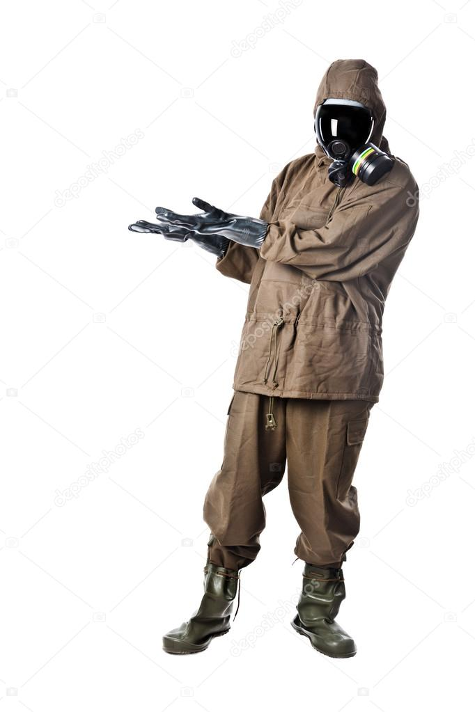 A man wearing an NBC Suite (Nuclear - Biological - Chemical) — Stock Photo #12862225