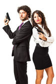 Secret agent and his woman — Stock Photo