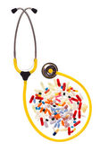Pills and stethoscope — Stock Photo