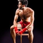 Boxer on a stool — Stock Photo