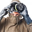 Taking off the gas mask — Stock Photo