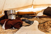 Inside a crusader's tent — Stock Photo