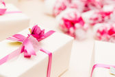 Wrapped Wedding gifts — Stock Photo