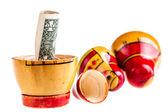 Dollar within Matryoshka doll — Stock Photo