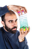 Amazed by slinky — Stock Photo