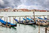Gondola docked in venice — Stock Photo