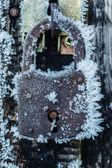 Hoarfrost padlock — Stok fotoğraf