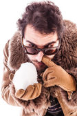 Snorting a snowball — Stock Photo