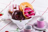 Doughnuts breakfast — Stock Photo
