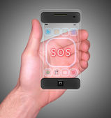 Transparent Mobile Smart Phone in man's Hand showing SOS on screen new Digital Technology concept — Stock Photo