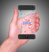 Transparent Mobile Smart Phone in man's Hand new Digital Technology concept — Zdjęcie stockowe