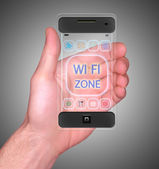 Transparent Mobile Smart Phone in man's Hand showing WI-FI Zone on screen new Digital Technology — Stock Photo