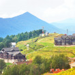 Russia, July 29, 2013: Residence in National Park of Caucasus Mountains, Biosphere Science Center on Moon Valley place in Caucasus Reserve — Stock Photo