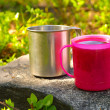 Two Touristic Cups metal and pink plastic with Tea on stone in forest Picnic thematic — Stock Photo