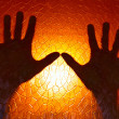 Hands Silhouette on Fire Orange Color Background stained glass with geometric pattern Horror Cinematic and concept of Phobia and Depression Emotion — Stock Photo