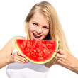 Young Woman eating big slice Watermelon Berry fresh in hands Beautiful Smiling Face and Blonde Hair Organic Food concept isolated on white background — Stock Photo