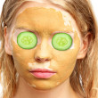 Spa Woman Face with facial Clay Mask Organic Beauty treatments S — Stock Photo