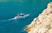 White Yacht pleasure Boat floating in blue Sea beautiful aerial view Summer Traveling Transport — Stock Photo