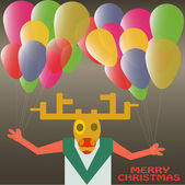 Christmas Deer with balloons celebrating New Year Holiday in vector — Stock Vector