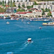 BALAKLAVA, CRIMEA, UKRAINE Bay with Yacht boats and seaside view town — Stock Photo