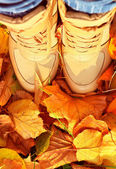Autumn Background with Fall leaves and woman Shoes Boots Golden — Stock Photo