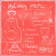 Stock Vector: Holiday Food Menu set hand drawn on chalkboard Restaurant Design trendy style Organic Food concept in vector