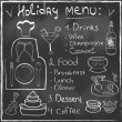 Holiday Food Menu set hand drawn on chalkboard Restaurant Design trendy style Organic Food concept in vector — Stock Vector #35585089
