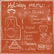 Holiday Food Menu set hand drawn on chalkboard Restaurant Design trendy style Organic Food concept in vector — Stock Vector #35585131