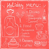Holiday Food Menu set hand drawn on chalkboard Restaurant Design trendy style Organic Food concept in vector — Stock Vector