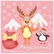 Merry Christmas Greeting card with Deer and Penguin cute cartoon characters — Stock Vector