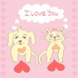 Valentine Dog and Cat cute cartoon character Love Heart Valentines day Greeting card Hand drawn trendy colors Romantic concept in vector — Stock Vector