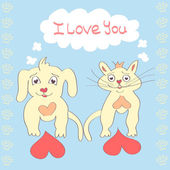 Valentine Dog and Cat cute cartoon character Love Heart Valentines day Greeting card Hand drawn trendy colors Romantic concept in vector — Stockvector