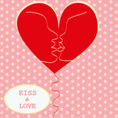Kissing Couple in Love Heart Valentines day Greeting card trendy retro colors Romantic relationship abstract style concept in vector — Stock Vector