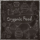 Organic Food Concept set with homemade products Hand drawn on blackboard trendy style in vector — Stock Vector