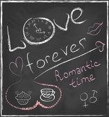 Love forever and Romantic time concept hand drawn on blackboard with abstract clock and set with hearts, cofee cup, cake, gender symbols and lips in vector — Stok Vektör