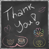Thank You Lettering Message handwriting on blackboard with set of abstract flower and coffee cup with cake in vector — Διανυσματικό Αρχείο