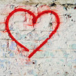 Red Love Heart hand drawn on brick wall grunge textured background trendy street style — Stock Photo