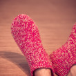 Man Legs in red Wool Socks male knitted clothes winter — Stock Photo