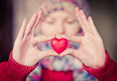 Heart shape love symbol in woman hands Valentines Day romantic greeting people relationship concept winter holiday — Foto Stock