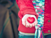 Heart shape love symbol in woman hands Valentines Day romantic greeting people relationship concept winter holiday — Stockfoto