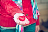 Heart shape love symbol in woman hands Valentines Day romantic greeting people relationship concept winter holiday — Photo