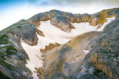 Rocky Mountains Summit with glacier snow way beautiful Landscape nature — Stock Photo