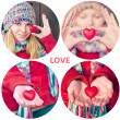 Heart shape love symbol in woman hands Valentines Day holiday romantic greeting people relationship concept collage set — Stock Photo