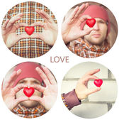 Heart shape love symbol in man hands Valentines Day holiday romantic greeting people relationship concept collage set — Stockfoto